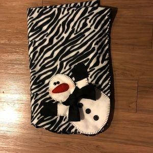Snowman Zebra Fleece Blanket Handmade